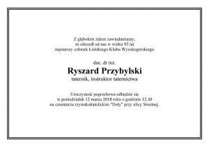Ryszard Przybylski - nekrolog 1 ŁKW